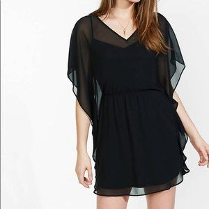 Express Black Dolman Sleeve Caftan Sheer Dress